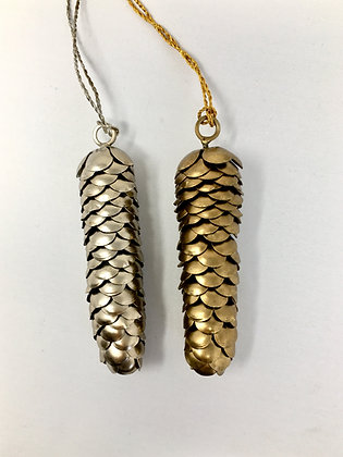 Gold Antique Fir Cone Pair