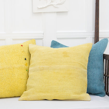 Canary Yellow Antique Hand-dyed Tapis Cushion Cover