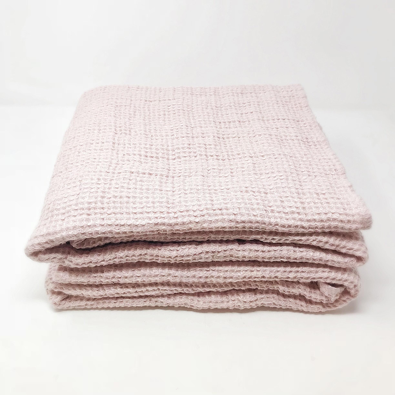 Chunky Waffle Weave Bath Towel Rose