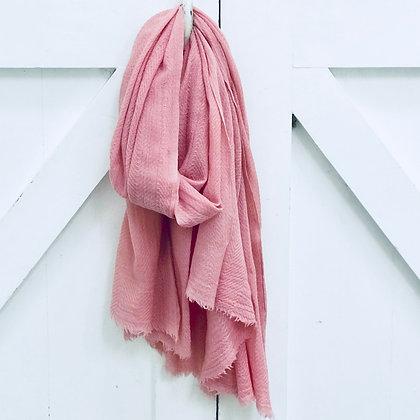Fine Wool Block Printed Scarf- Pink