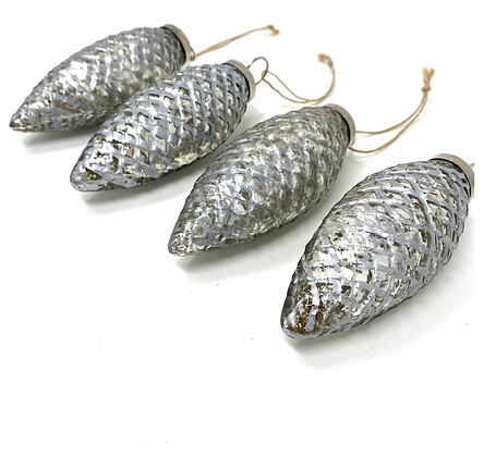 Fir cone bauble-set of 4