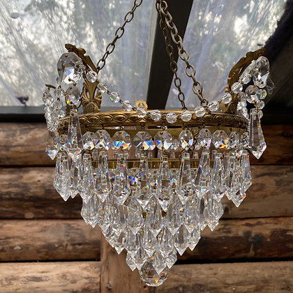 Vintage Brass and Crystal Waterfall Chandelier