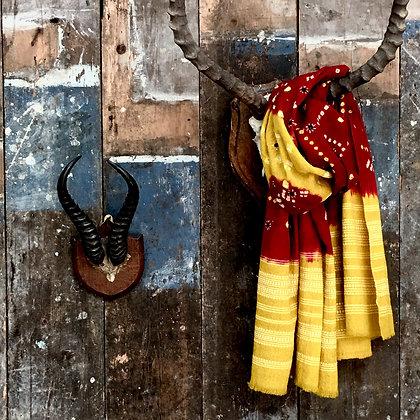 Artisan Bandhari wool scarf/throw yellow