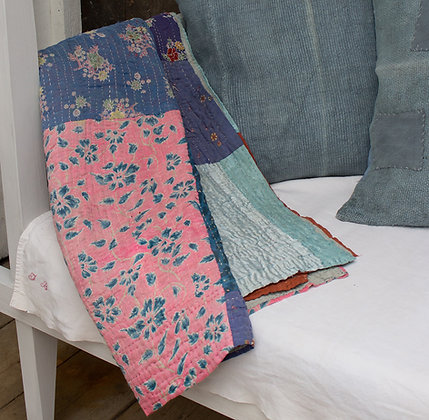 Antique Kantha Quilt - Turquoise