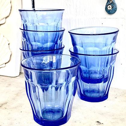 Duralex Marine Blue Picardie Glass Tumblers- Set of Six