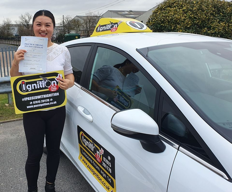 Lushan from Swanwick, Alfreton passing her test following driver tuition from Dave Jowett ADI
