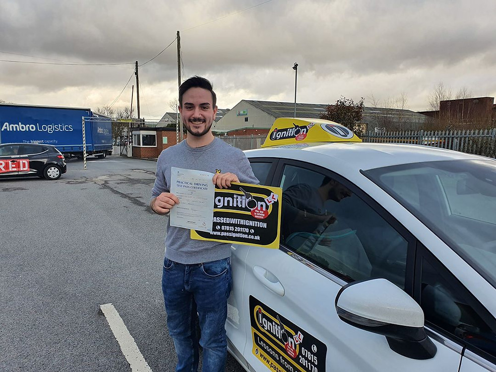 Tom from Alfreton passing his test following driving lessons from Dave Jowett ADI