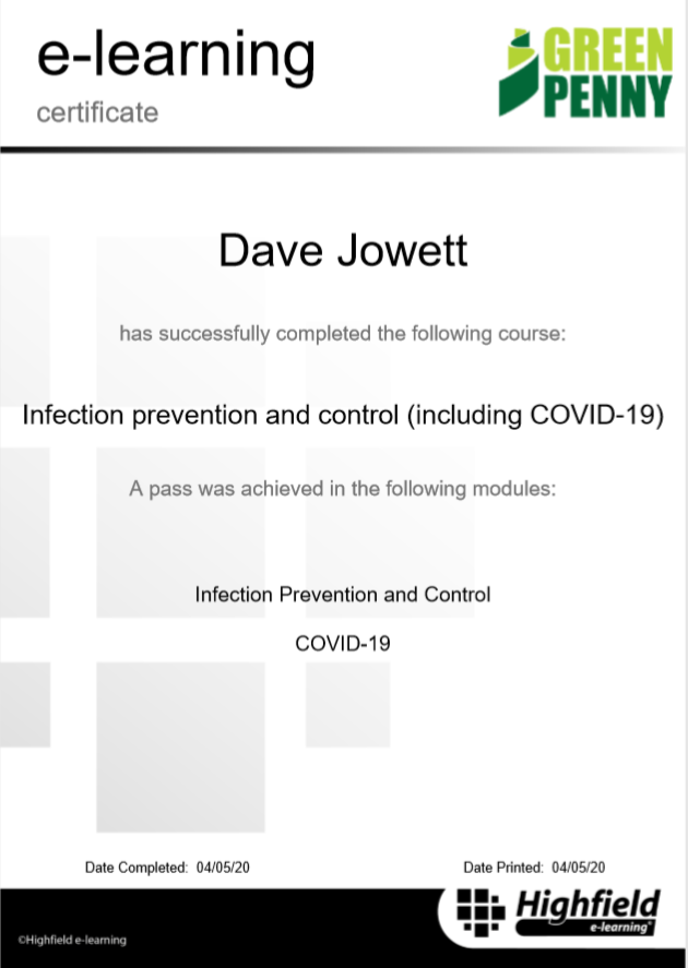 Infection control certificate to show that my car is a safe learner driver environment