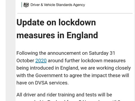 Driver training and test suspended during latest lockdown