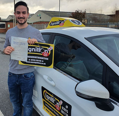 Tom Crombie from Alfreton passing his drivng test after driver training with Dave Jowett ADI