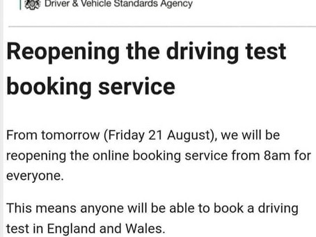 Practical test booking reopens tomorrow