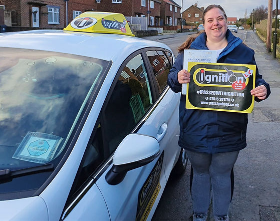 Rosemarie Walsh from Ripley passing her driving test following driving lessons with her instructor Dave Jowett ADI