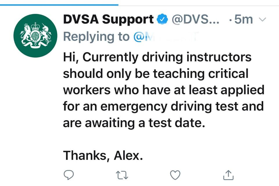 Latest update from the DVSA on driving lesson provision for driving instructors