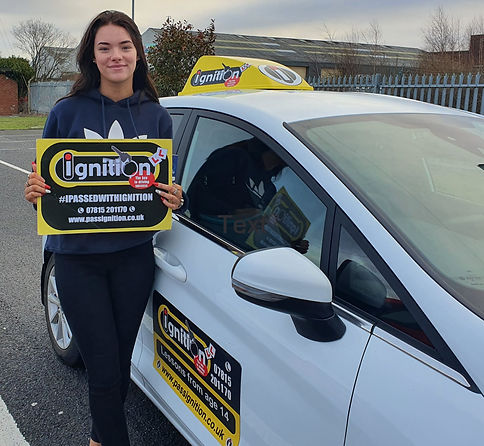 Courtney Jones from Pinxton passing her drivng test with our driving school
