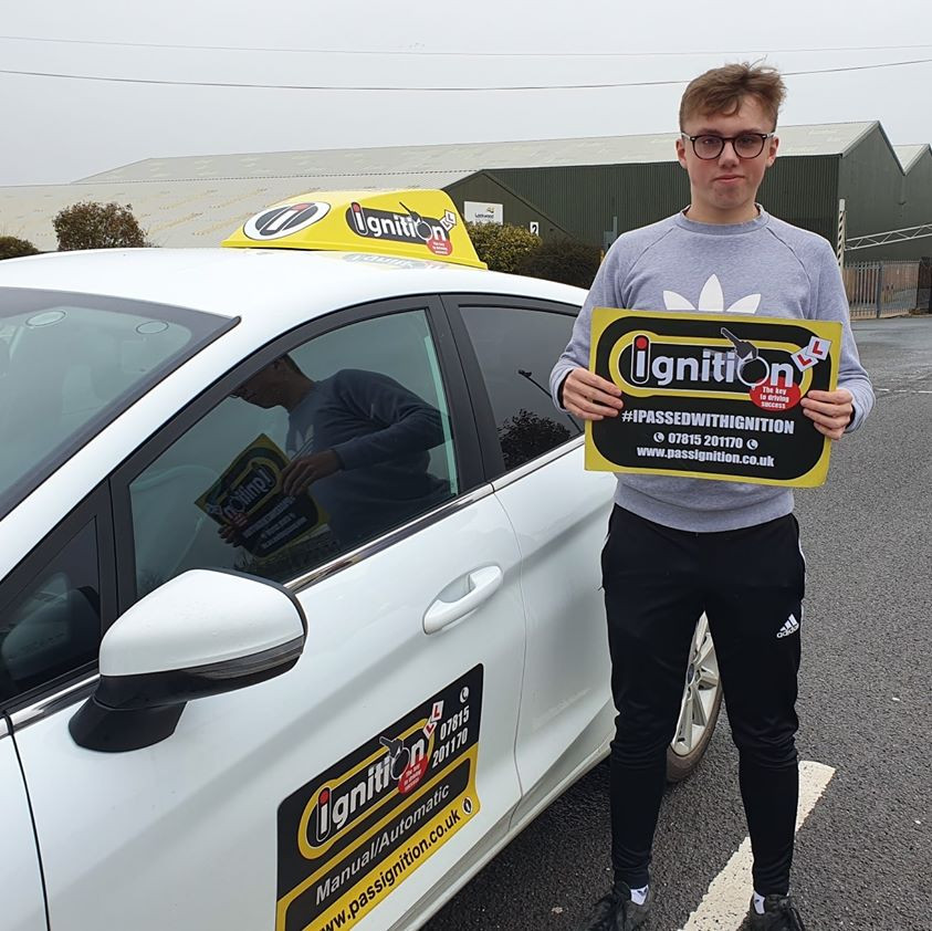 Will from Alfreton passing his driving test after driving lessons from Dave Jowett ADI