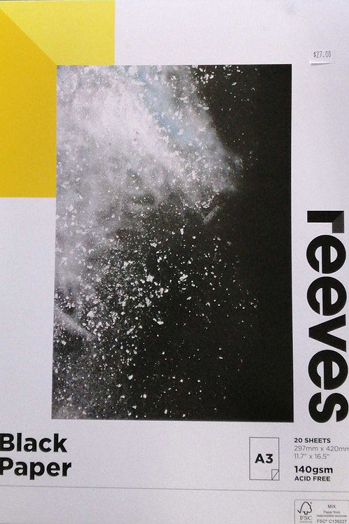 Reeves black paper A3 20 sheets 140 GSM acid free