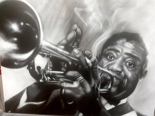 Louis Armstrong, airbrush artwork by Julia Tapp