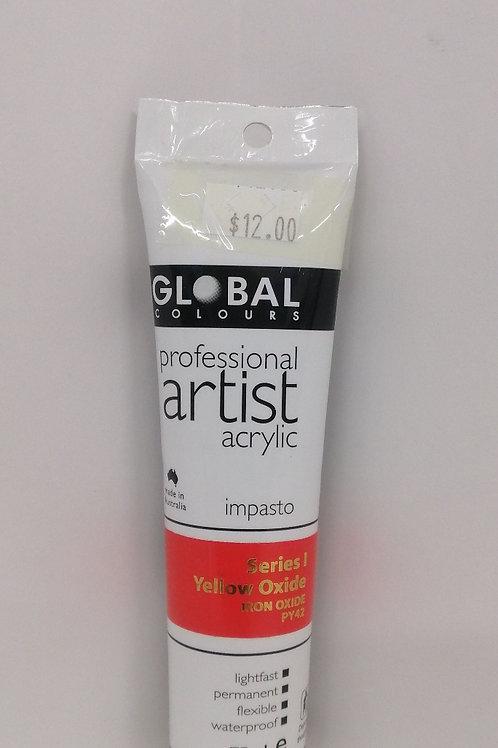 Global professional artist acrylic impasto series 1 yellow oxide 75ml