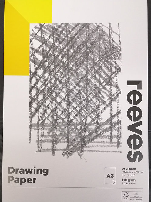 Reeves drawing paper 50 sheet 110gsm A3 acid free