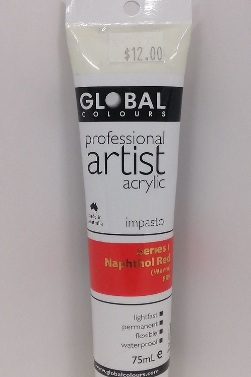 Global professional artist acrylic impasto series 1 Naphtol Red 75ml
