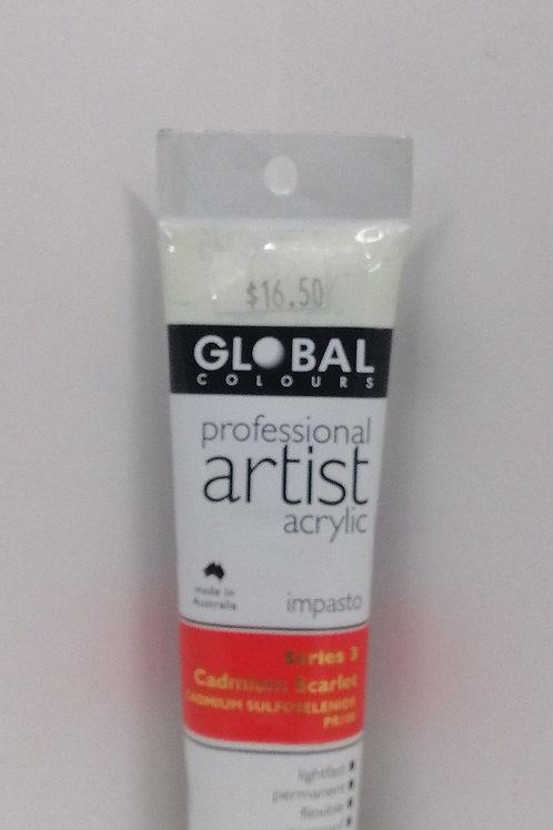 Global professional artist acrylic impasto series 3 cadmium Scarlet 75ml