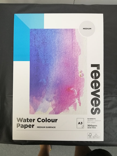 Reeves watercolour paper medium surface A3 300 GSM acid free 12 sheets