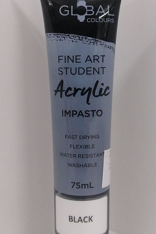Global fine art student acrylic impasto black 75ml