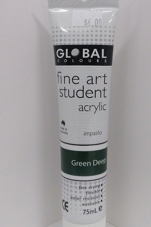 Global fine art student acrylic impasto green deep 75ml