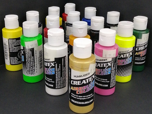 Createx 60ml pearlized, transparent, opaque & fluorescent multiple colours
