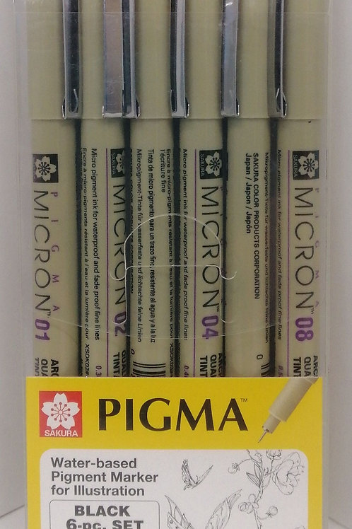 Sakura Pigma water-based pigment marker for illustration, black 6 piece set