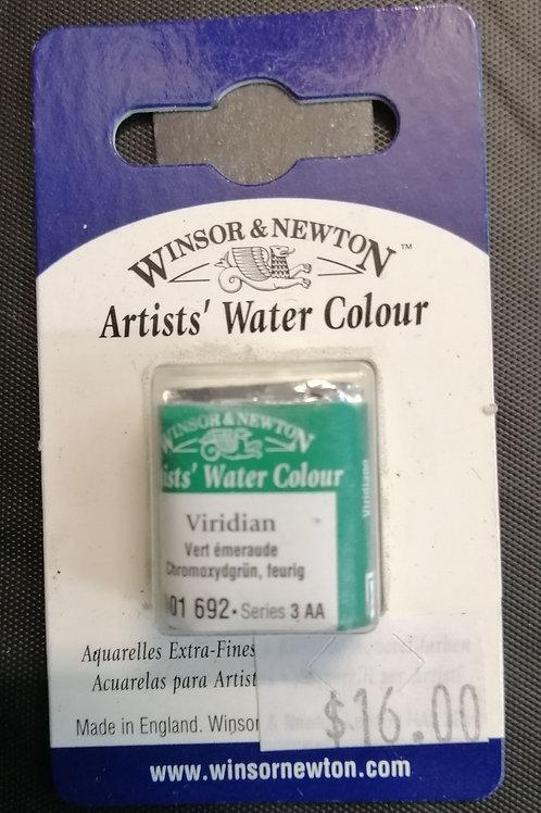 Winsor and Newton artist watercolour Viridian half pan