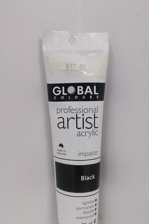 Global professional artist acrylic impasto series 1 Black 75ml
