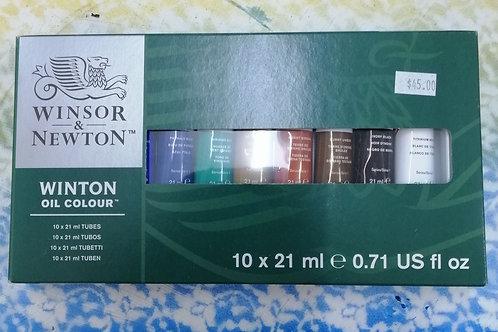Winsor and Newton oil colour 10 x 21 mil tubes