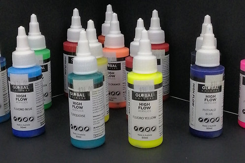 Global high flow acrylics, 50 ml, multiple colours.