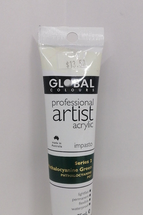 Global professional artist acrylic impasto series 2 Phthalocyanine green 75ml