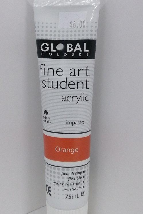 Global Fine Art student acrylic impasto Orange 75ml