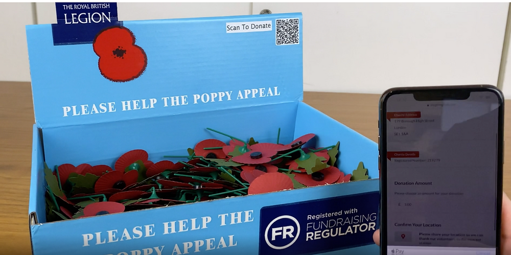 Donation collection box for The Royal British Legion.