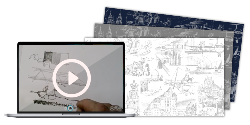 Free virtual conference backgrounds, video tutorial and more from Berman Sketching