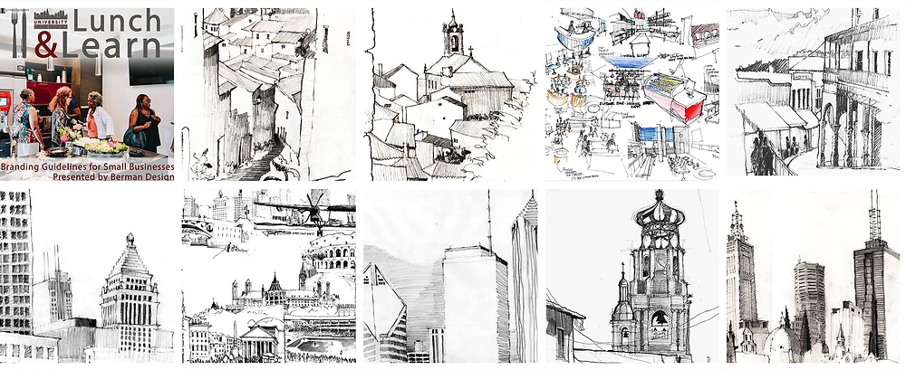 Joel Berman's freehand drawings of Chicago, Portugal, Melbourne Australia, Rome, Wrigley Field, The Chicago Riverwalk, Puerta Vallarta, and Billy Bishop Airport in Toronto.