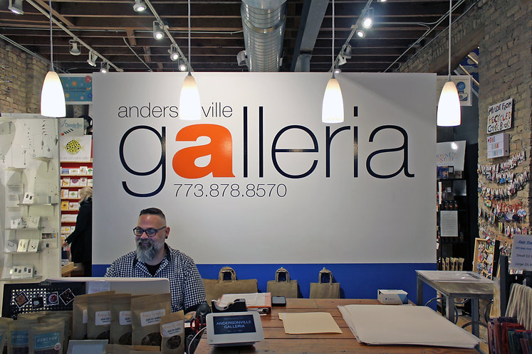 Galleria reception desk located in Chicago's Andersonville neighborhood