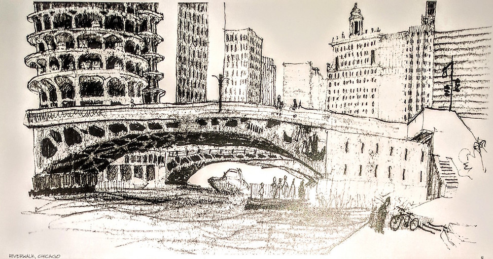 Chicago Architect Joel Berman's freehand sketch of the Chicago Riverwalk at Tiny Tap and Marina Towers at the Main Stem of the Chicago River.