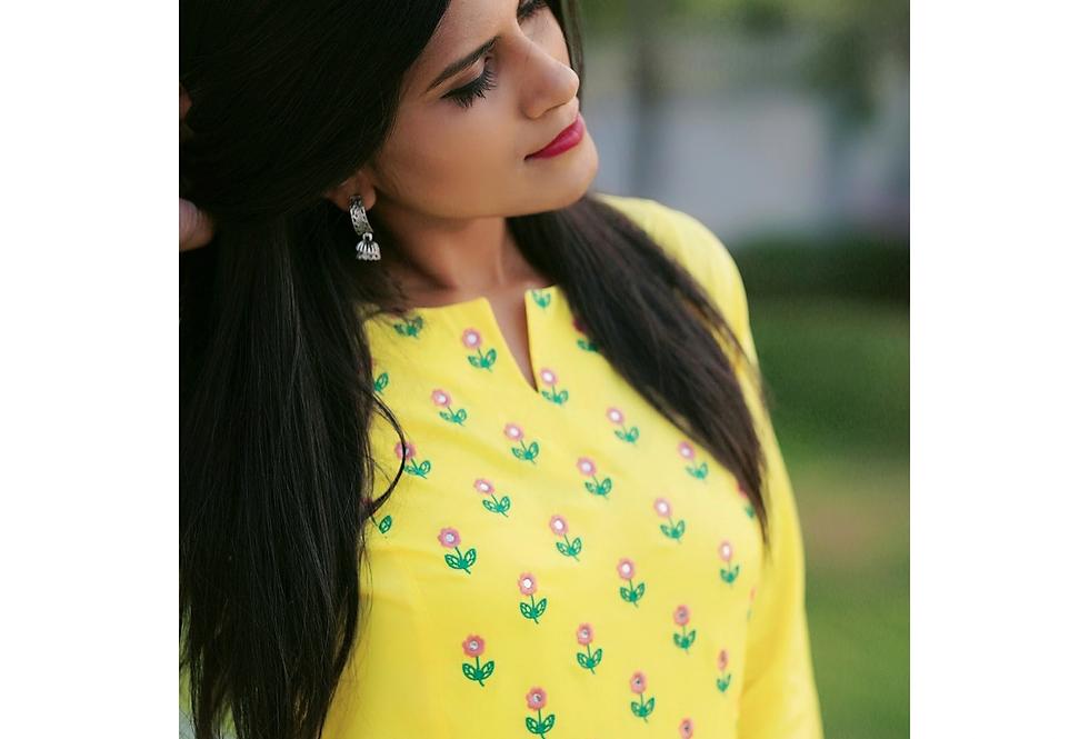Sunshine flower embroidery Kurta