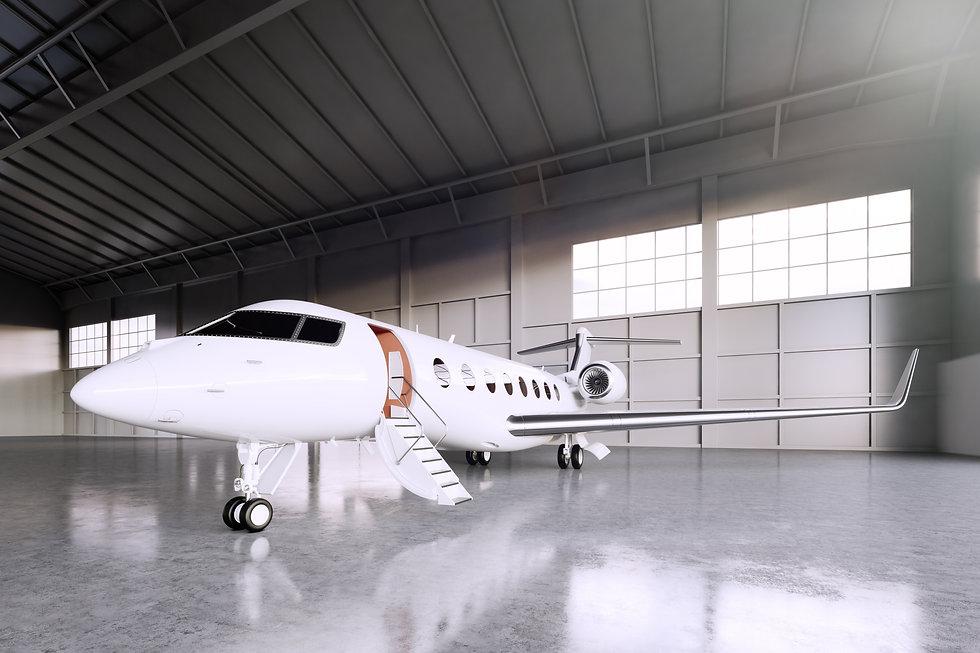 Jet in hanger