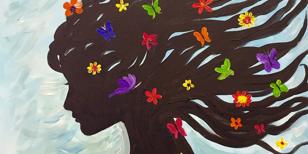 Butterflies On Her Hair-Virtual and In-person Artsy Party!