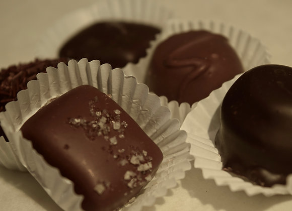 Assorted Dark Chocolates, Creams, and Caramels