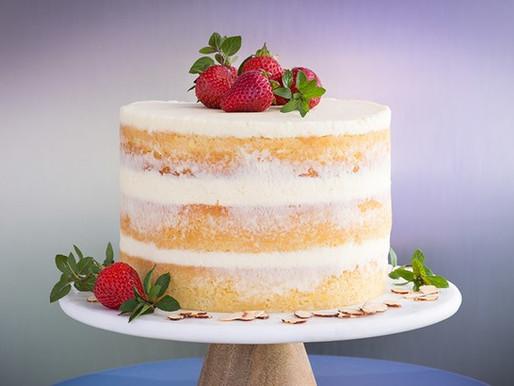 Honey Almond Cake With Berries and Mascarpone Crème Fraiche