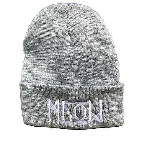 """Grey Knit Beanie - """"Bekm 1"""" Meow"""