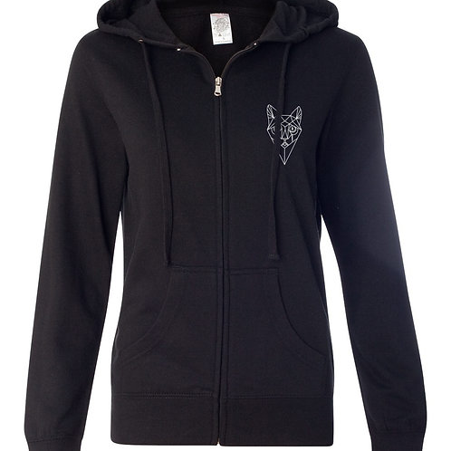 Women's Full Zip Hoodie, Cat Face, C&BR Back