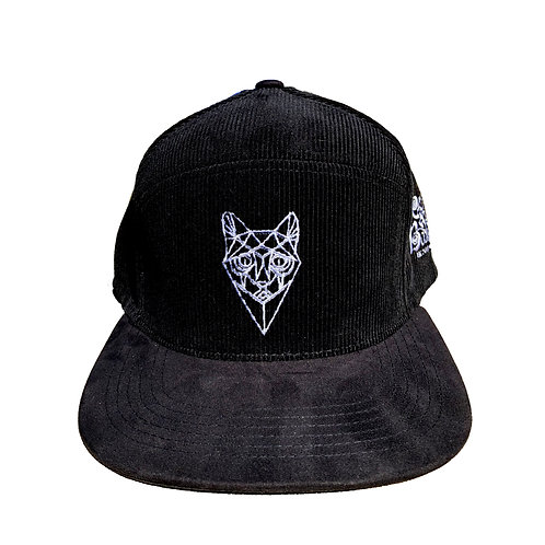 Black Corduroy Camper Snapback - Cat Face