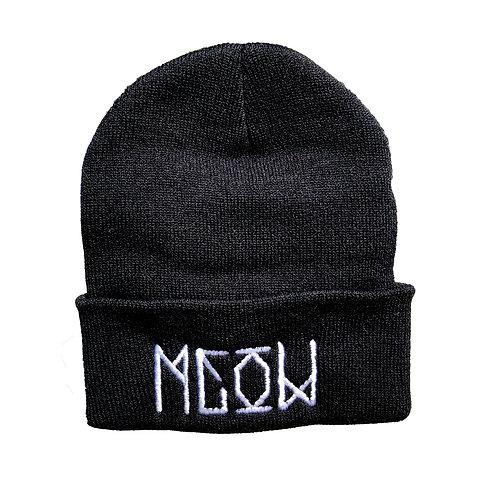 """Black Knit Beanie - """"Bekm 1"""" Meow"""